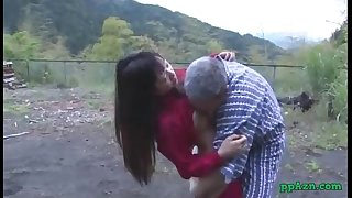 Asian hotwife getting her fur pie licked and drilled by old fellow cum to booty outdoor at