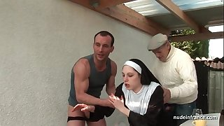 Young french nun fucked hard in trio with papy voyeur
