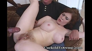 Red bushy cum-hole stuffed with stranger's knob