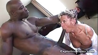 Old granny takes a large dark jock in her booty anal interracial clip