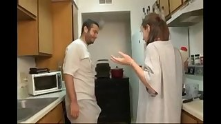 Brother and sister oral-sex in the kitchen